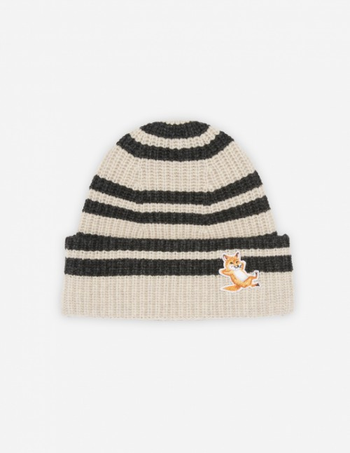 Beige Melange Fox Striped Beanie Hat