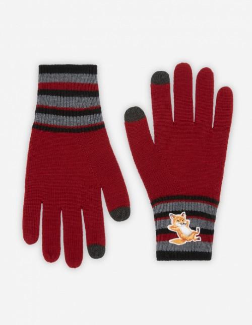 Dark Red Fox Striped Gloves