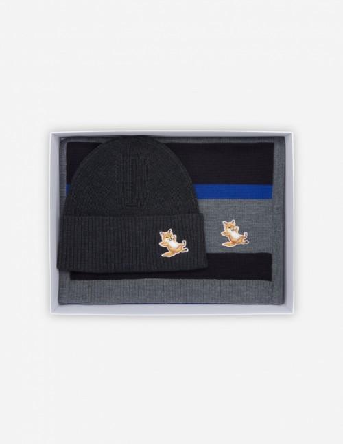 Anthracite Melange Fox Beanie + Scarf Gift Box