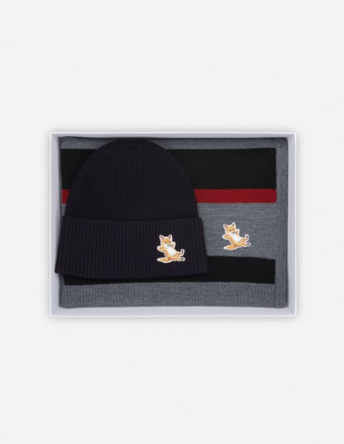 Dark Navy Fox Beanie + Scarf Gift Box