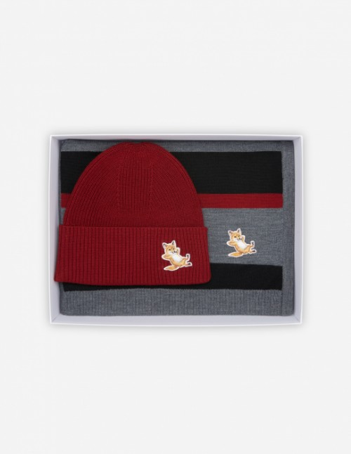 Dark Red Fox Beanie + Scarf Gift Box