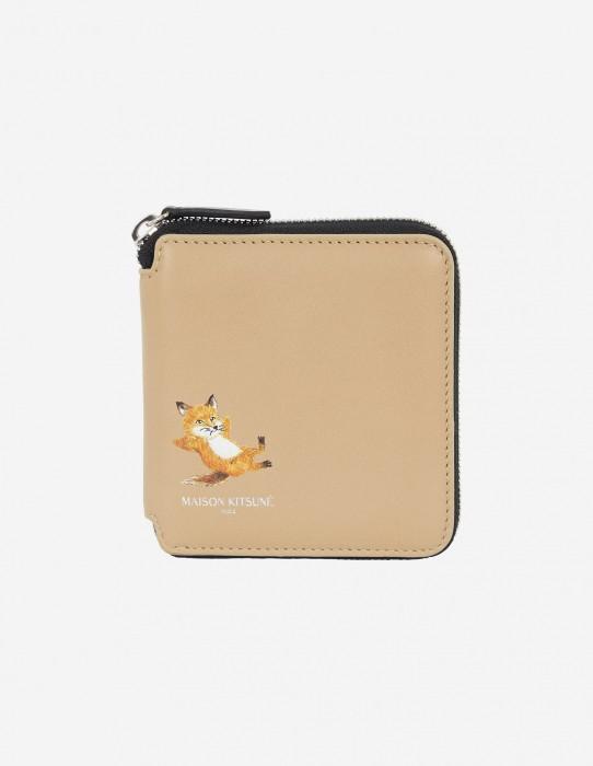Beige Square Zipped Fox Wallet