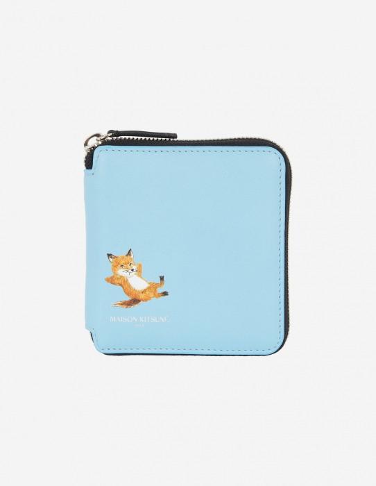 Blue Square Zipped Fox Wallet