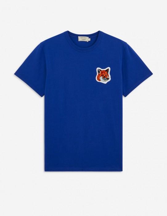 Classic Royal Blue Tee-Shirt Velvet Fox Head Patch