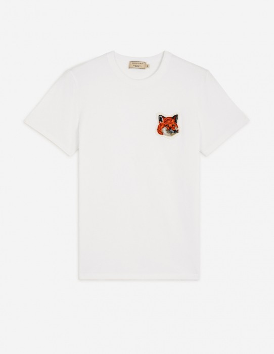 Classic White Tee-Shirt Velvet Fox Head Patch