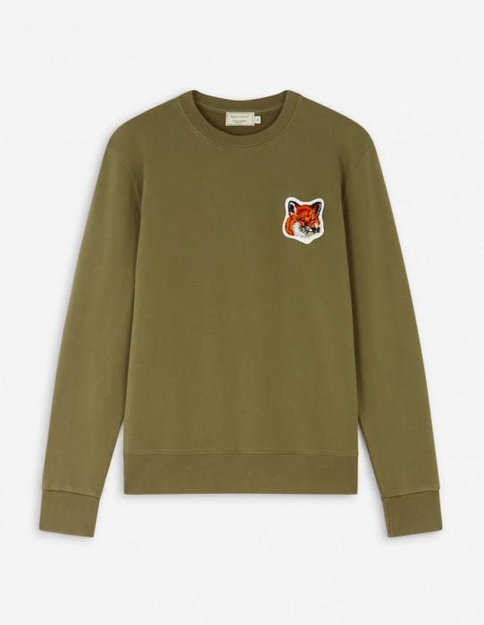 Khaki Velvet Fox Head Patch Classic Sweatshirt