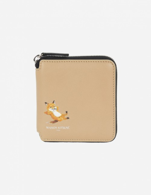 Beige Square Zipped Fox Wallet