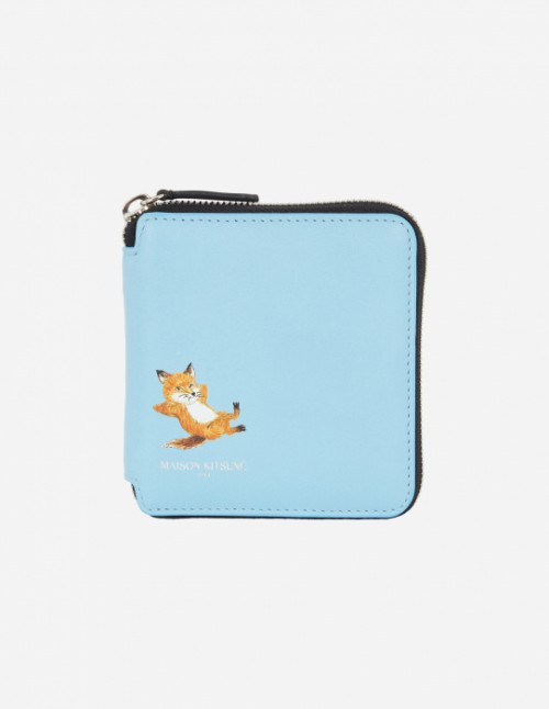 Blue Square Zipped Fox Wallet