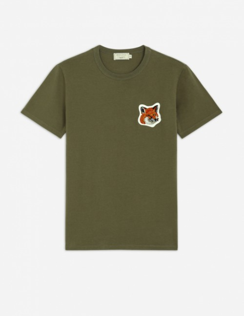 Classic Khaki Tee-Shirt Velvet Fox Head Patch