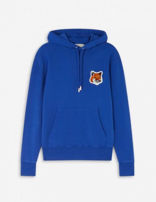 Royal Blue Velvet Fox Head Patch Classic Hoodie