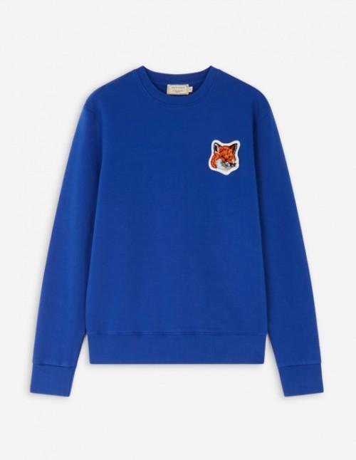 Royal Blue Velvet Fox Head Patch Classic Sweatshirt