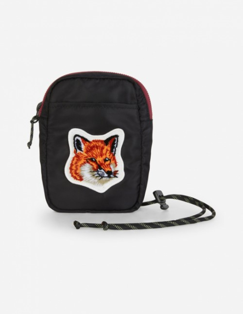 Black Velvet Fox Head Patch Small Pouch