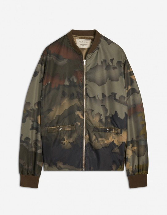 Zipped Teddy Jacket with Animal Camouflage
