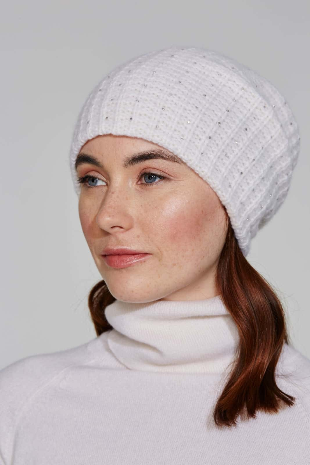 White Quattro Stitch Slouch Hat With Crystal Scatter