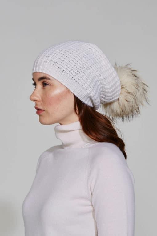 White Quattro Stitch Beanie With Fur Pom