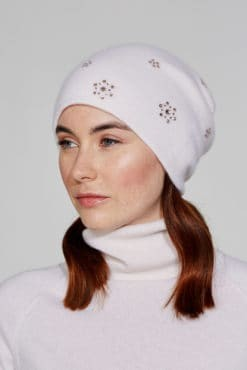 White Slouch Hat With Crystal Floral Scatter
