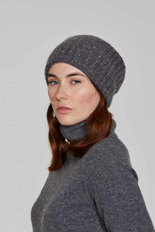 Dark Grey Quattro Stitch Slouch Hat With Crystal Scatter