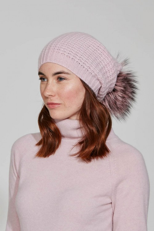 Pink Sorbet Slouch Hat With Crystal Scatter