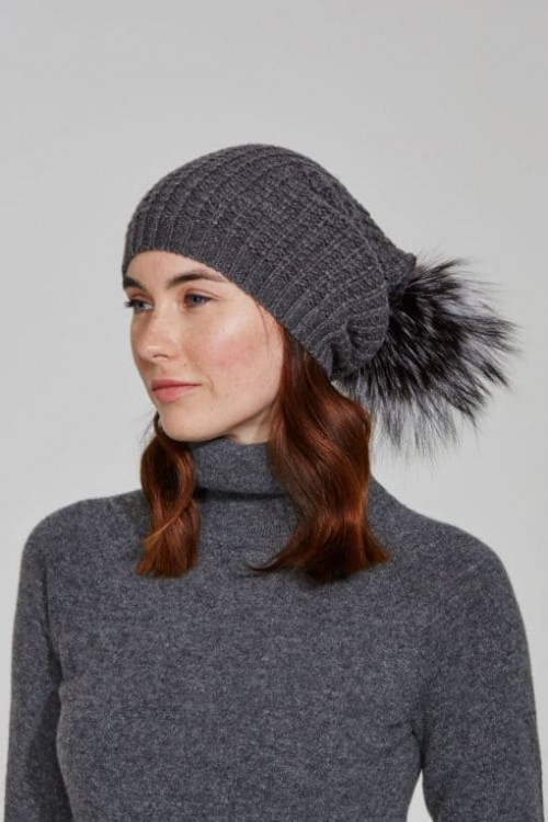 Grey Slouch Hat With Crystal Scatter