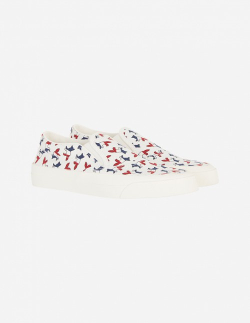 All-Over Tricolor Fox Slip-On Sneakers