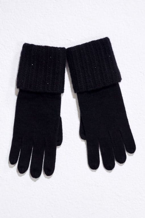 Black Plait Rib Gloves With Crystal Lines