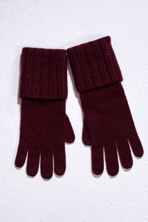 Claret Plait Rib Gloves With Crystal Lines
