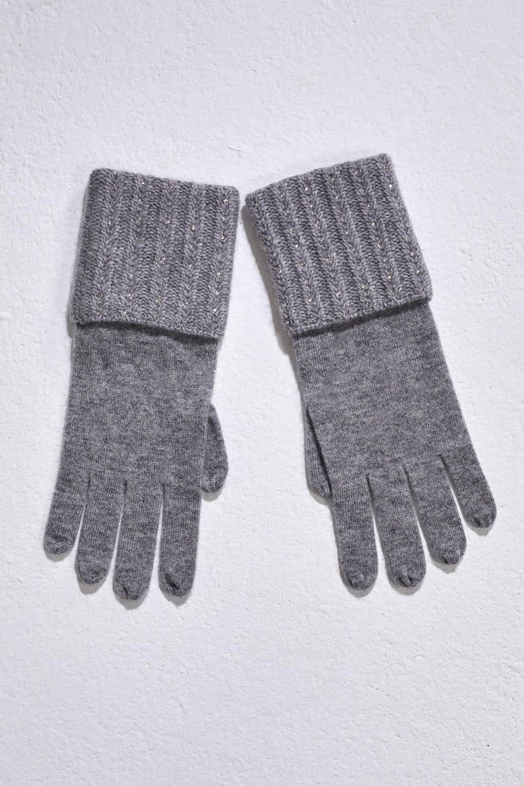Light Grey Plait Rib Gloves With Crystal Lines