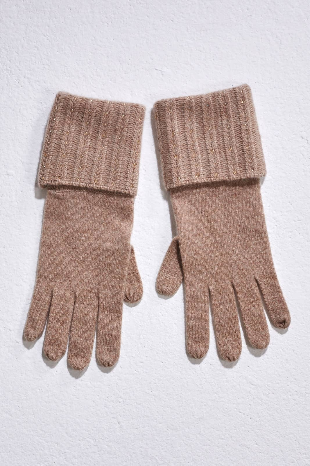 Mid Brown Plait Rib Gloves With Crystal Lines