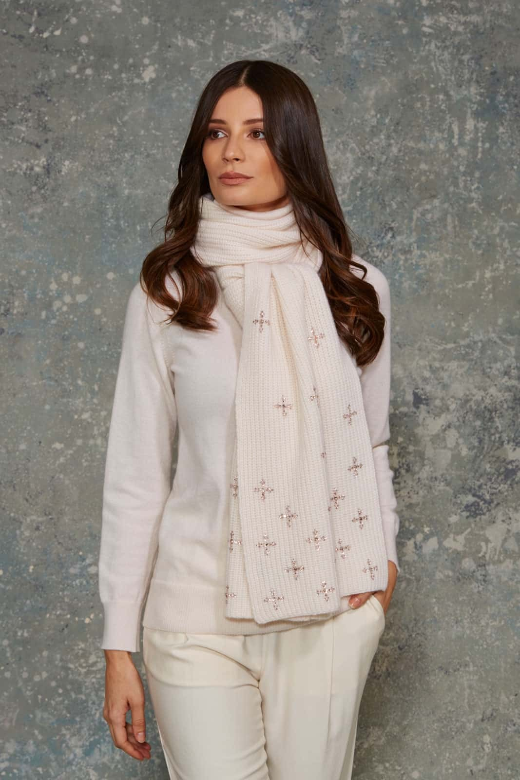 Winter White Scarf With Diamond Dazzle Scatter