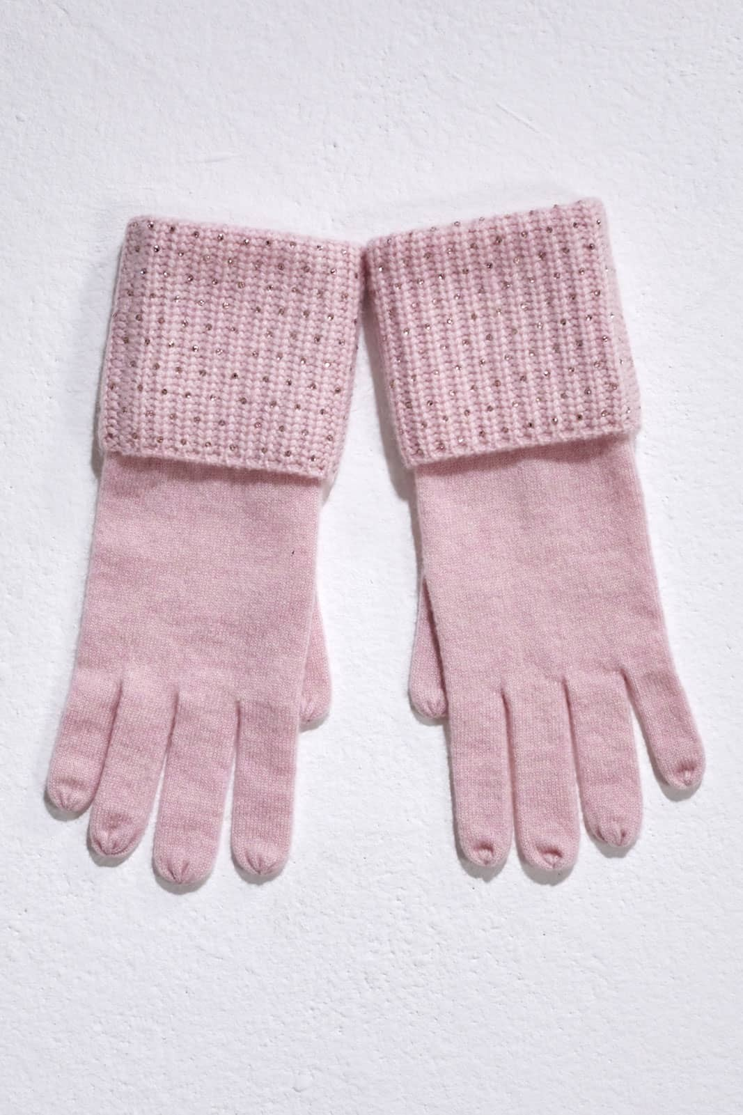 Pink Sorbet Cardigan Stitch Glove with Crystal Scatter