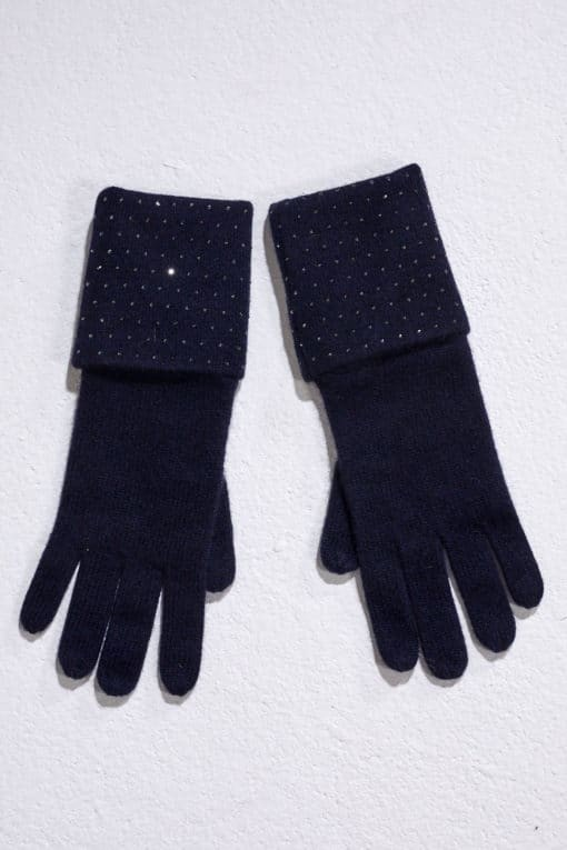 Midnight Double Turn Back Gloves with Crystal Scatter