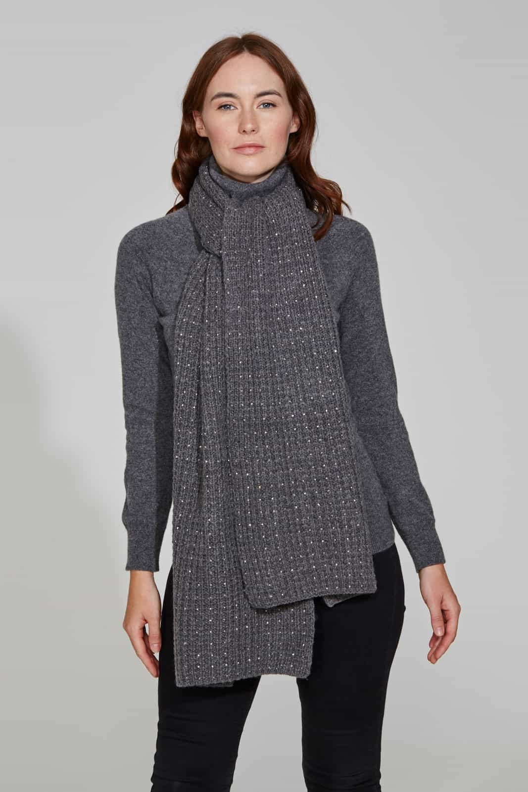 Fashionable Dark Grey Scarf with Crystal Scatter