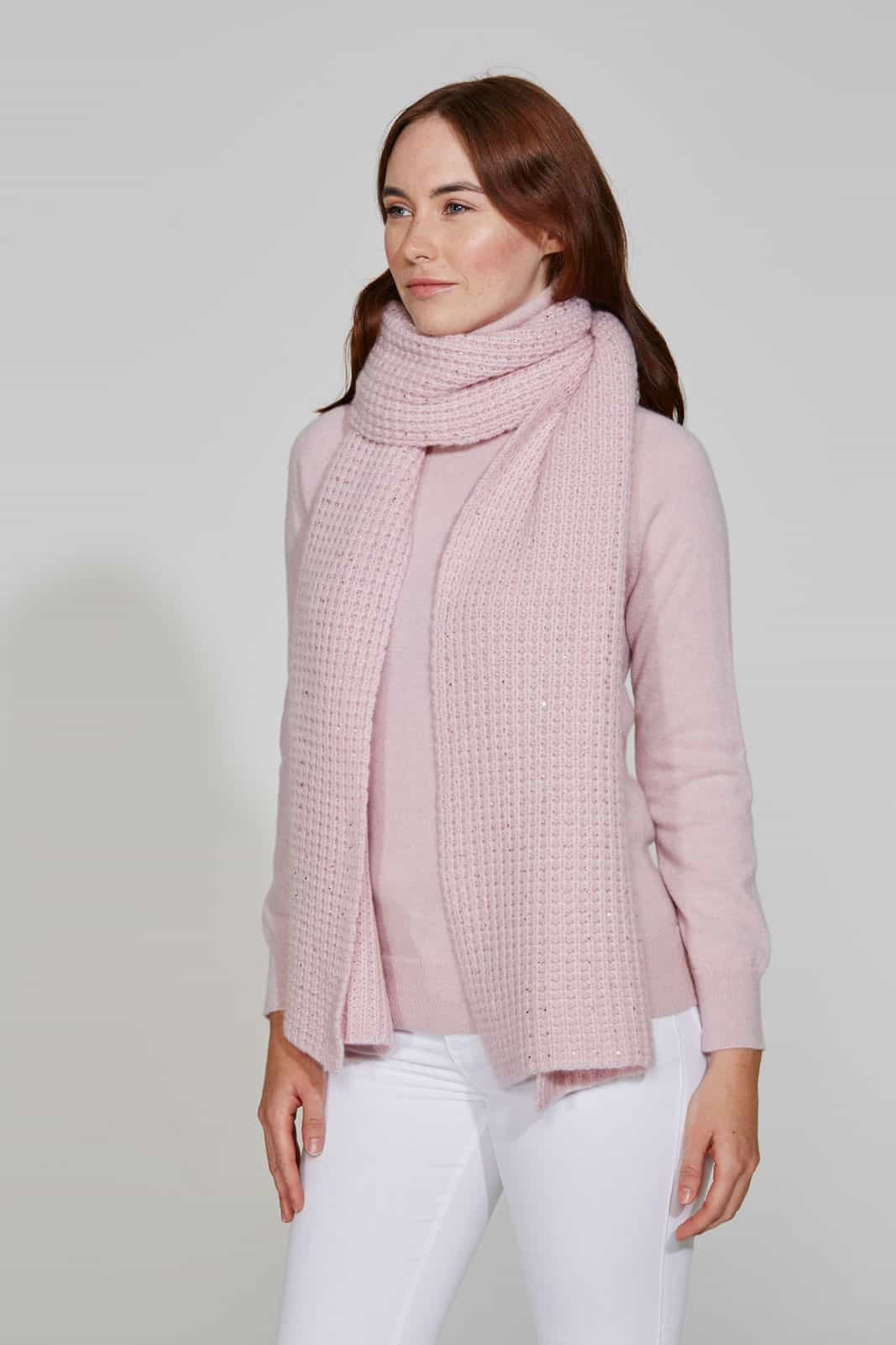 Cozy Pink Sorbet Scarf with Crystal Scatter