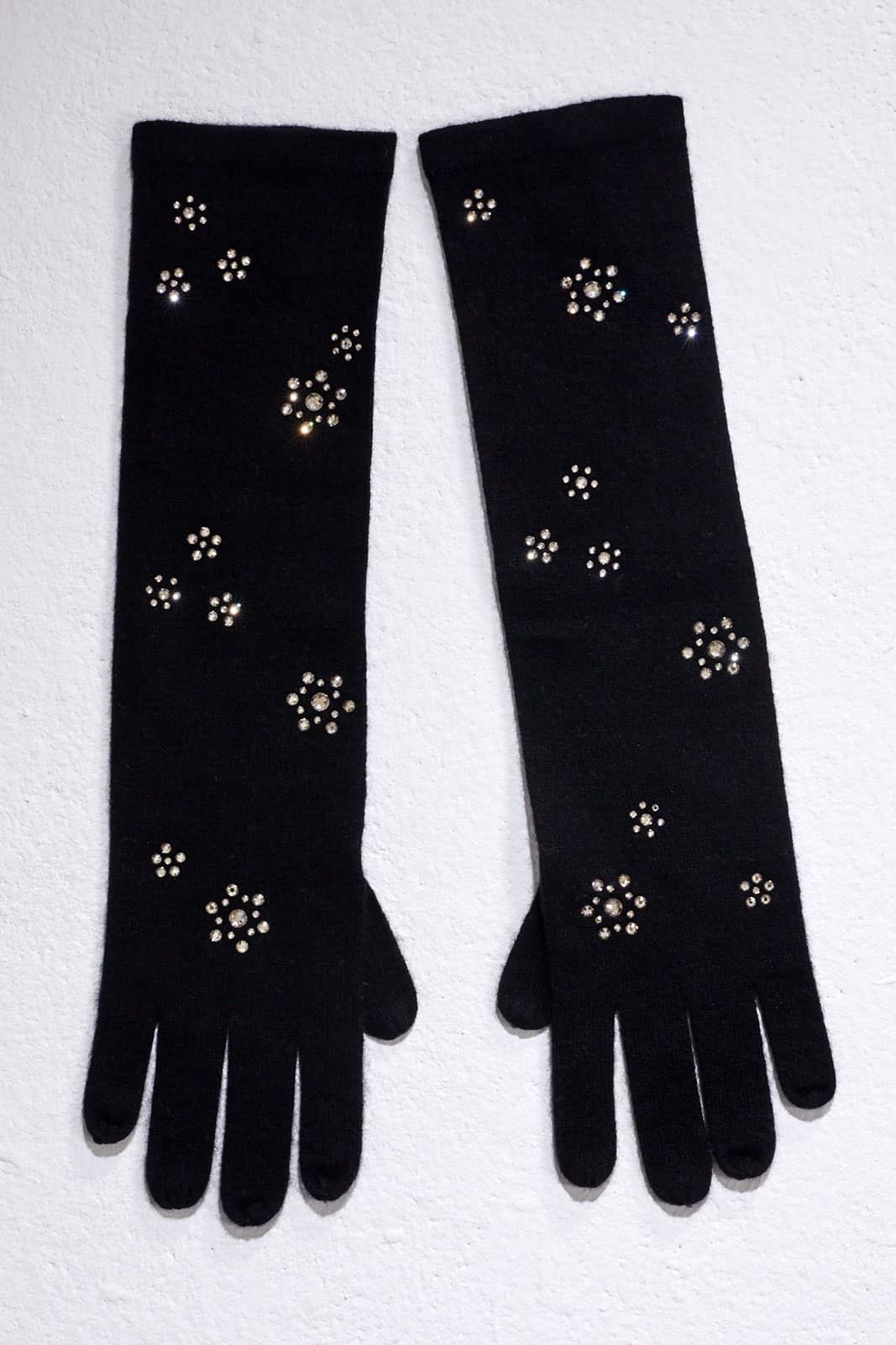 Black Elbow Length Gloves With Floral Scatter