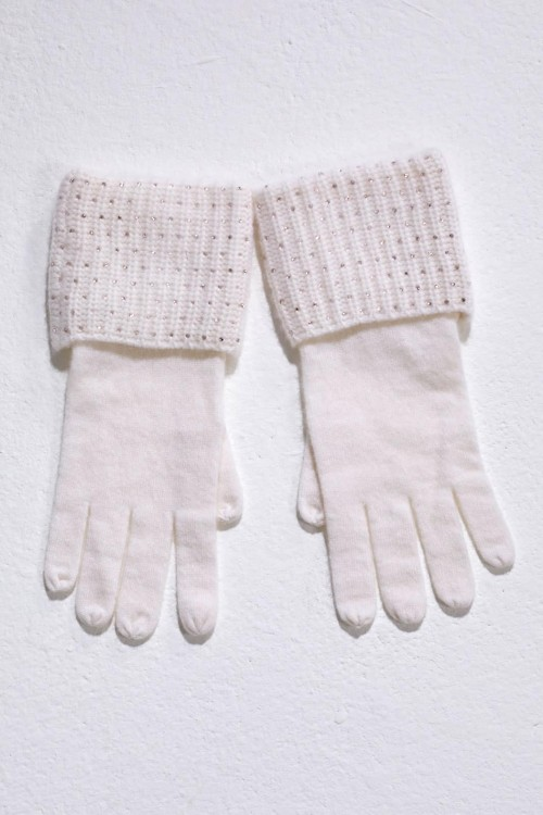 Warm Winter White Glove With Crystal Scatter