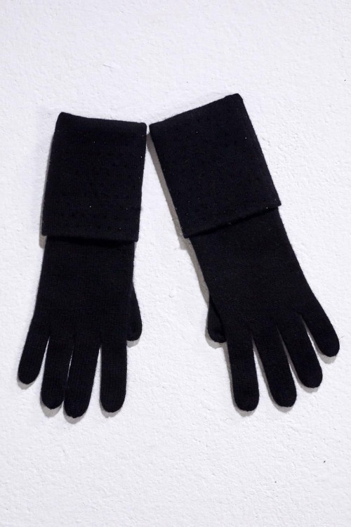 Black Double Turn Back Gloves with Crystal Scatter
