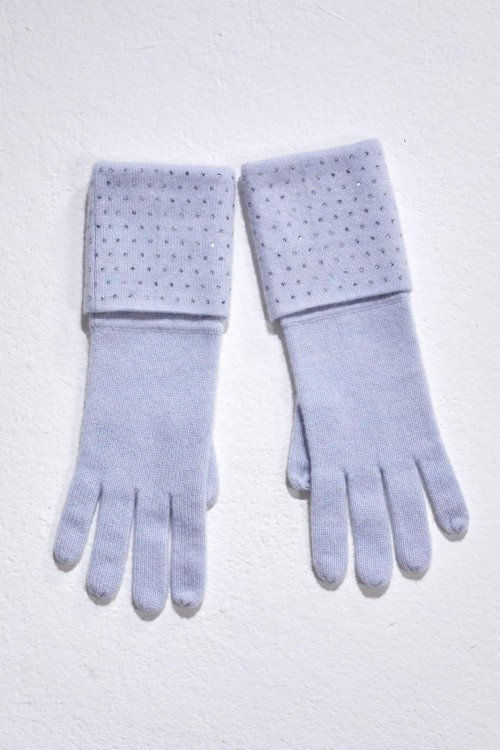 Blue Mist Double Turn Back Gloves with Crystal Scatter