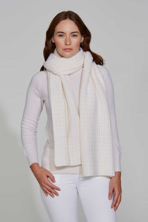 Trendy White Scarf with Crystal Scatter