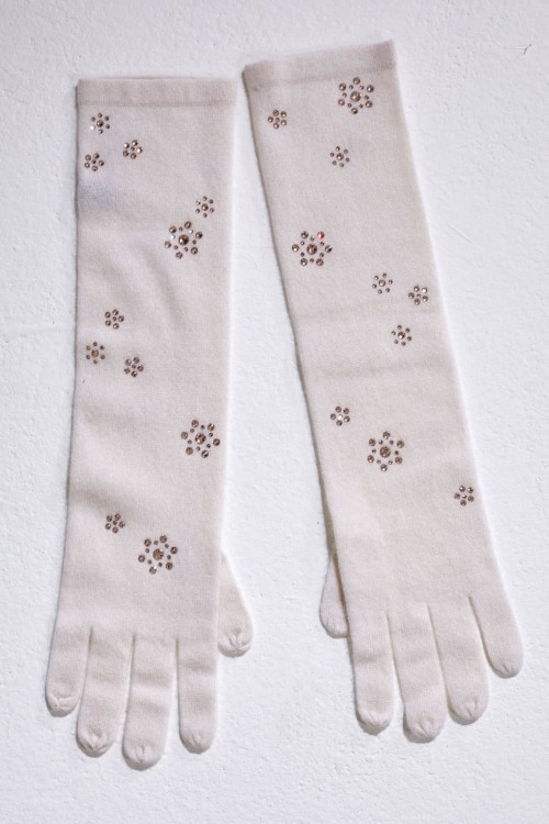 Winter White Elbow Length Gloves With Floral Scatter