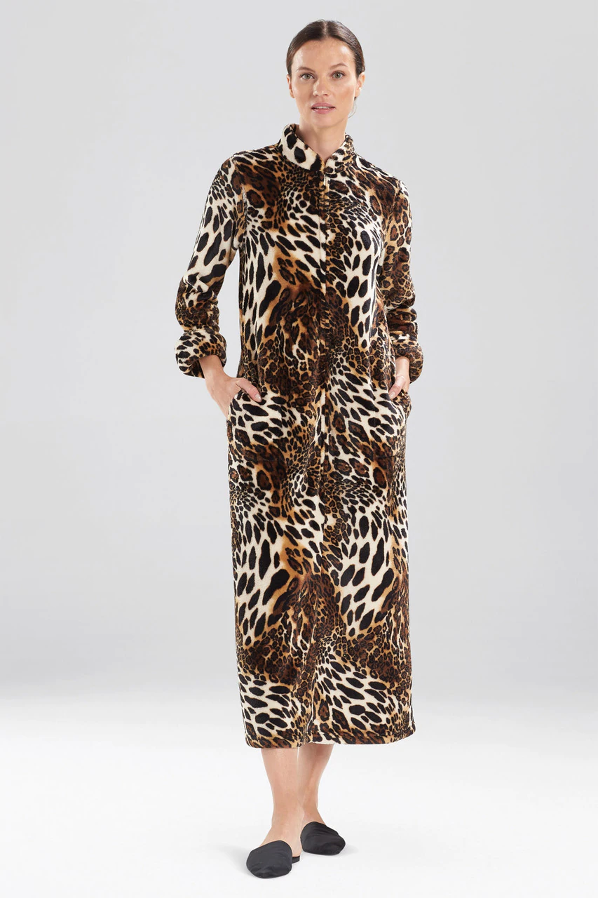 Chestnut Plush Leopard Zip Lounger