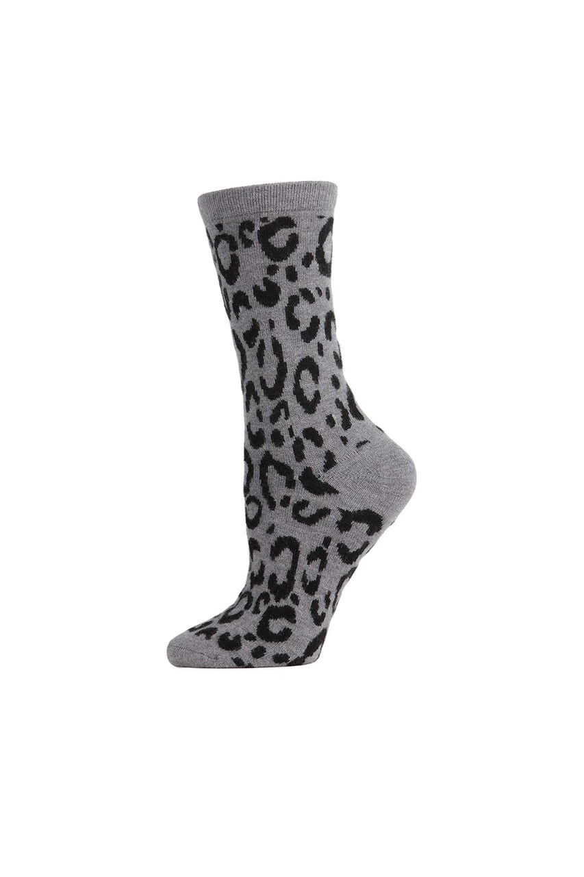 Medium Gray Heather Animal Print Socks