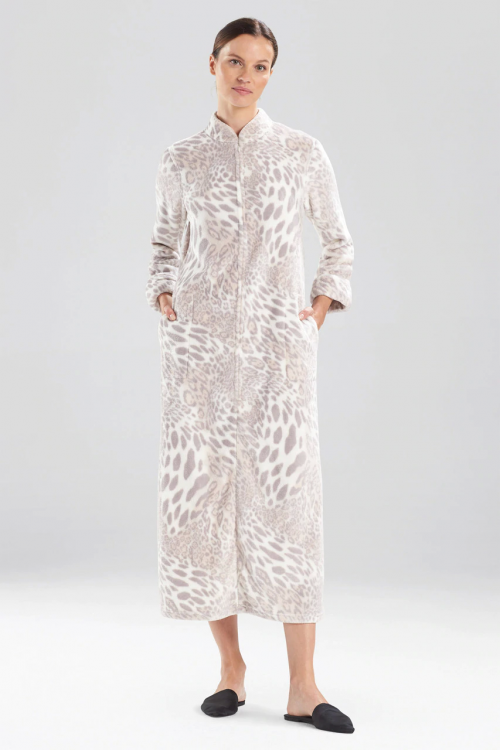 Silver Pearl Plush Leopard Zip Lounger