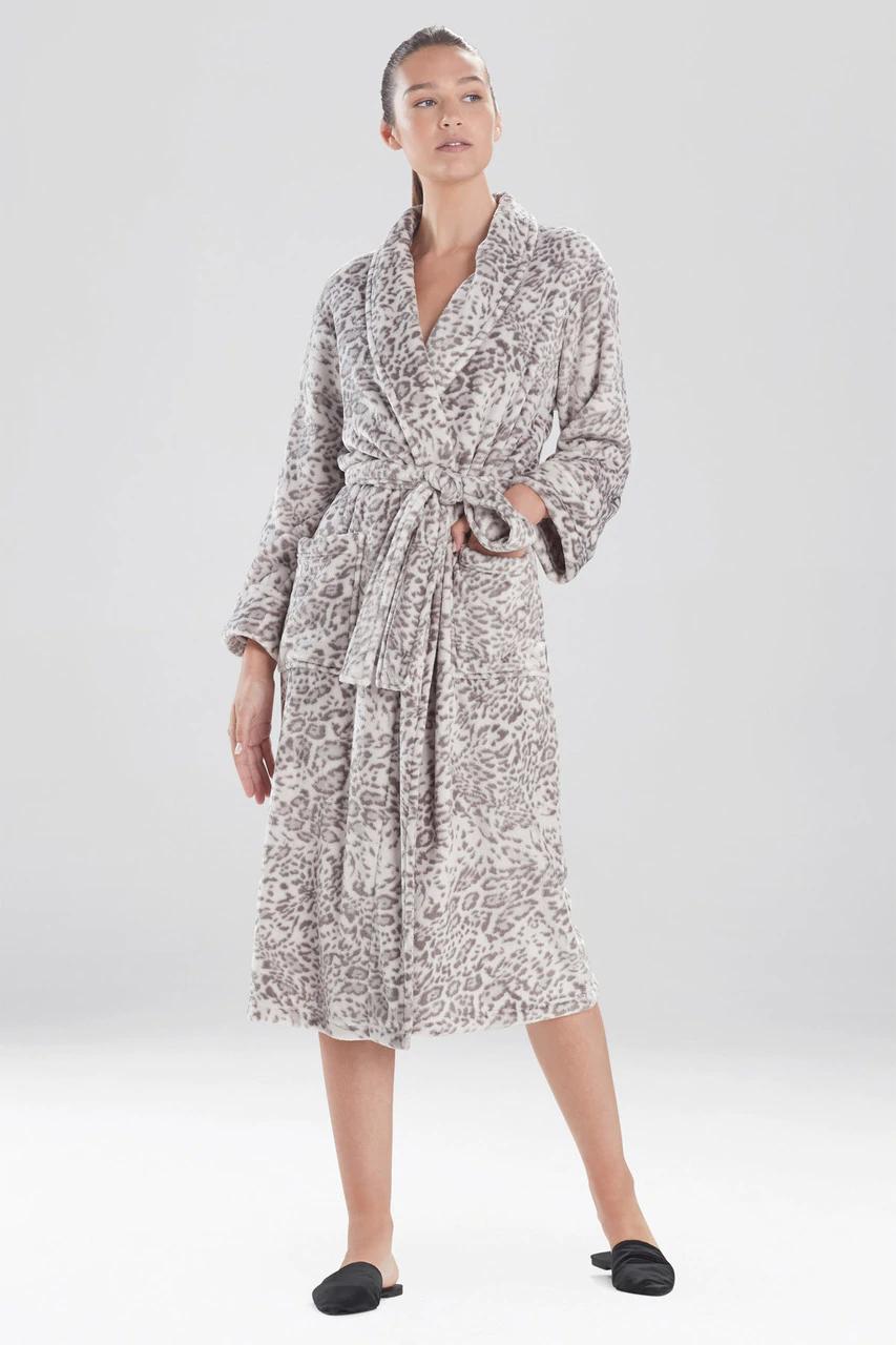 Cashmere Fleece Leopard Robe in Grey