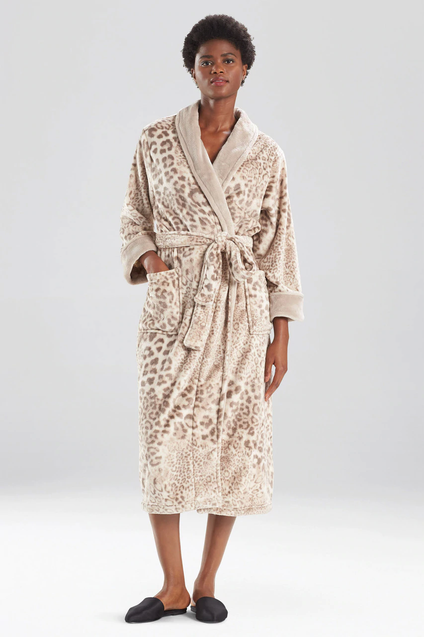 Cashmere Fleece Leopard Robe in Nude