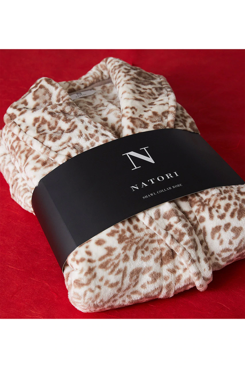 Cashmere Fleece Leopard Robe in Nude