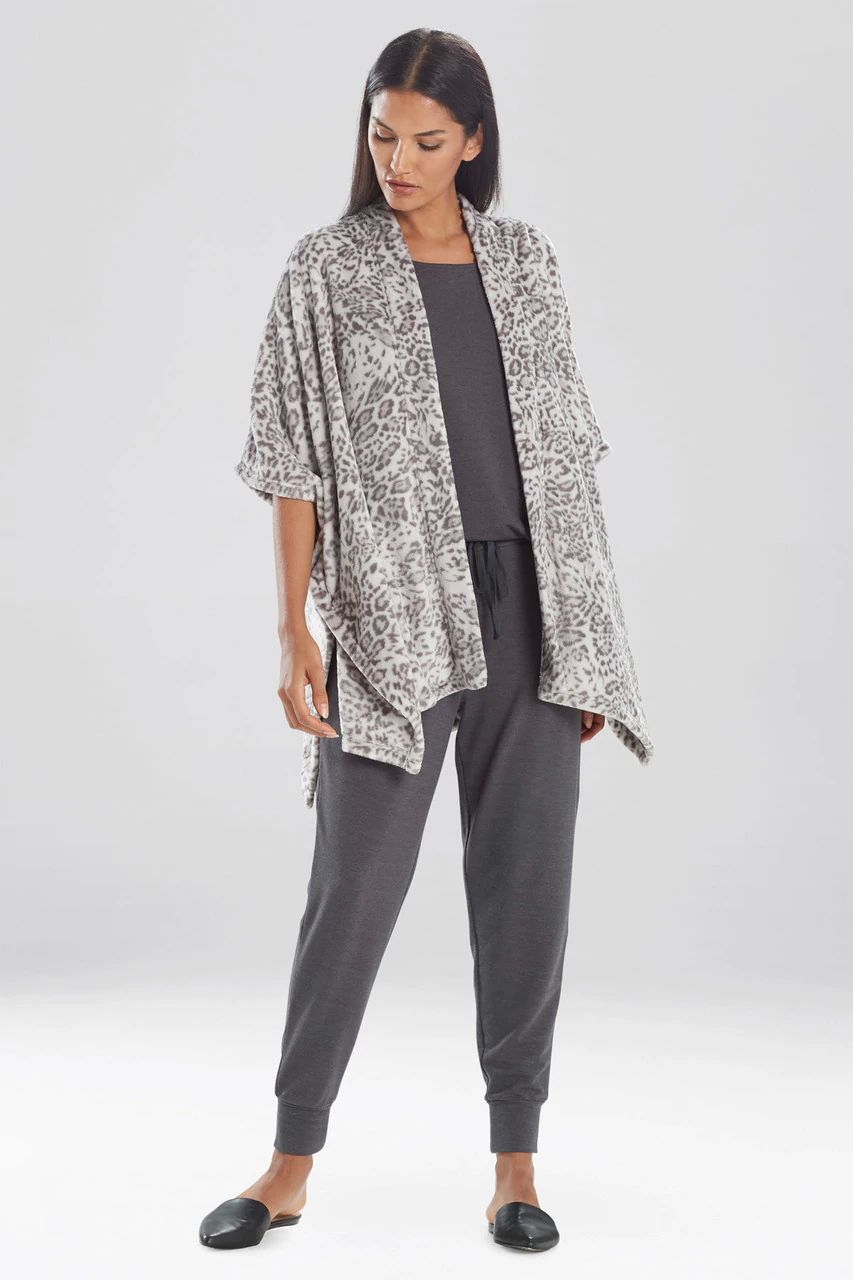Grey Cashmere Fleece Leopard Wrap