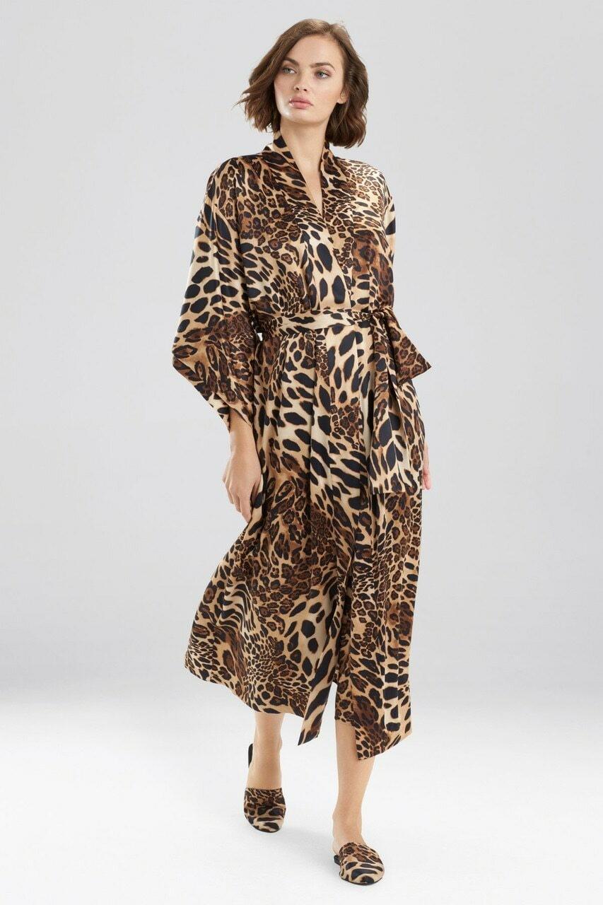 Elegant Chestnut Leopard Robe