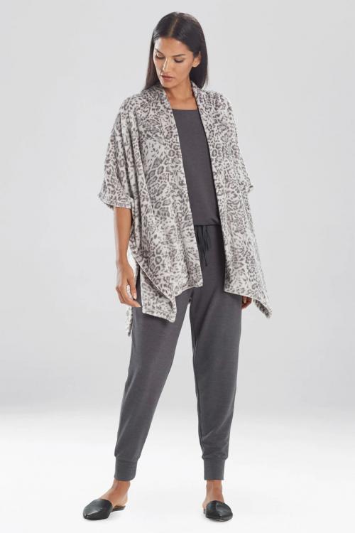 Grey Cashmere Fleece Leopard Wrap