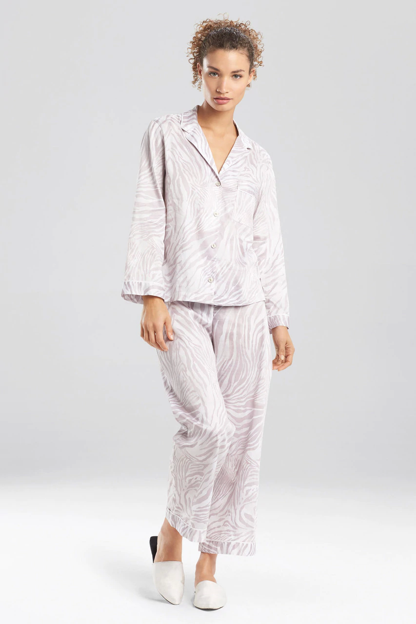 Grey Zebra - Cotton Sateen Notch Pyjama