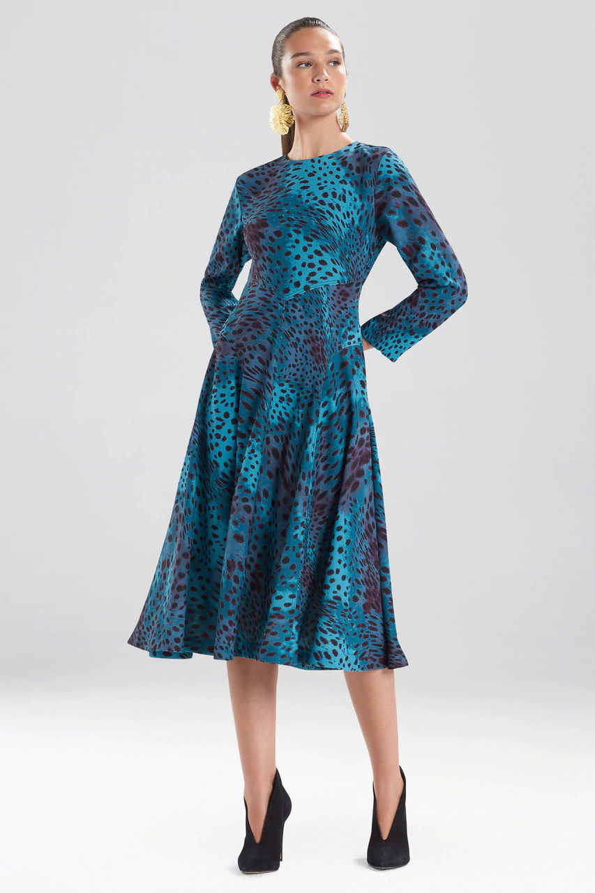 Cheetah Crepe Top Stitch Dress in Meditteranean Blue